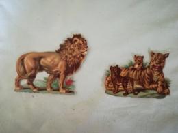 DIE CUT - SCRAP - 2 DECOUPIS Gaufré / Embossed - Animaux Sauvages - Tigres - Lions - Animals