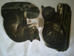 DIE CUT - SCRAP - 2 Grands DECOUPIS Gaufré / Embossed - Chats N° 3430 - WH - Animals