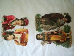 DIE CUT - SCRAP - 4 Grands DECOUPIS Gaufré / Embossed -  Femmes - Chevres - Victorian Die-cuts