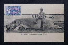 OUBANGUI / CHARI - Affranchissement De Fort L 'Archambault Sur CP ( Chasse Hippopotame ) En 1929 Pour Paris - L 62914 - Cartas
