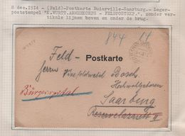 G4/ Feld-Postkarte Binarville > Saarburg C.K.Wurtt.Armeekorps - Feldpostexpe.8/12/1914 - Occupation 1914-18