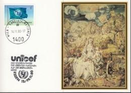 UNO WIEN  UNICEF-Kunstkarte, Albrecht Dürer, Madonna Mit Kind, Zur Int. Briefmarkenmesse, Essen 14.11.1980 - Lettres & Documents