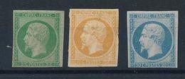 DP-153: FRANCE: Lot Avec N°12 NSG Filet Touché, Verso Défectueux-13A NSG (2ème Choix à Défect..-14f NSG, Court En Bas - 1853-1860 Napoléon III