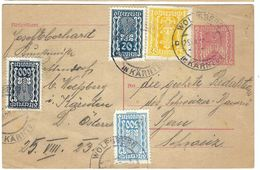 AUTRICHE 1923 Inflation: CP (entier 200 K) De Wolfsberg Pour Berne Avec Affr. Compl. ''4 Couleurs'' De 1000 K, Obl.  CAD - Covers & Documents
