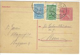 AUTRICHE 1923 Inflation: CP (entier 200 K) De Klagenfurt Pour Berne, Affr. Compl. ''2 Couleurs'' De 700 K, Obl.  CAD - Covers & Documents