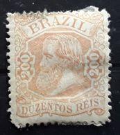 BRASIL BRAZIL BRESIL 1881 ,PEDRO II, Yvert No 50, 200 R Rouge Brun Neuf * MH  BTB, Sans Défaut,  Cote 650 Euros - Neufs