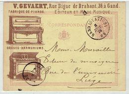 GAND - V. Gevaert - Fabrique De Pianos - Reclamekaart 12 X 8,8 Cm - Verzonden Gand Station 1875 - Rare - Gent