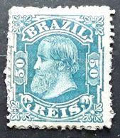 BRASIL BRAZIL BRESIL 1882 ,PEDRO II, Yvert No 53, 50 R Bleu Vert  Neuf * MH  TB, - Neufs