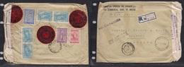 123gone. Greece Cover 1950 Samos To Hamburg Germany Registr Air Mult Fkd Reverse Env +censored Financial VF. Easy Deal. - Griechenland