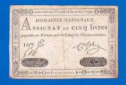AUTHENTIQUE ASSIGNAT CORSEL DE 5£ CINQ LIVRES CRÉÉ LE 30 AVRIL 1792 LE TIMBRE SEC EST TRÈS VISIBLE SÉRIE 107 E N° 514 ? - Assegnati