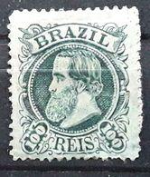 BRASIL BRAZIL BRESIL 1882 ,PEDRO II, Yvert No 54, 100 R Vert Gris  Neuf * MH  TB, - Neufs