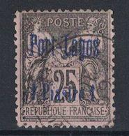 PORT LAGOS - TIMBRE TYPE SAGE N° 4 OBLITÉRÉ (VERSO SANS DÉFAUT) 25c SURCHARGE 1 PIASTRE - Port Lagos (1893-1931)