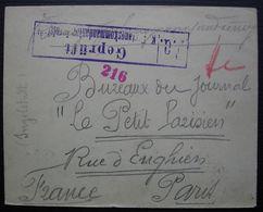 Enveloppe Du Camp De Prisonniers D'Ingelstadt Avec Censure 216 En Rouge, Pour Le Petit Parisien à Paris - Guerre De 1914-18