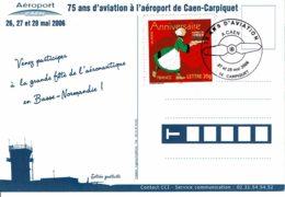 """2006 - Oblit Temporaire """"75 ANS D'AVIATION A L'AEROPORT DE CAEN-CARPIQUET"""" - Matasellos Provisorios"""