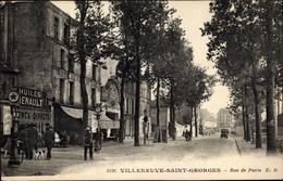 Cp Villeneuve Saint Georges Val De Marne, Rue De Paris, Huiles Renault - Autres Communes
