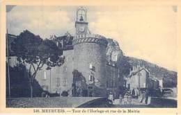 48 - MEYRUEIS : Tour De L'Horloge Et Rue De La Mairie - CPA Village ( 830 Habitants ) Lozère - Meyrueis