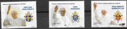PANAMA, 2019, MNH, CHRISTIANITY, POPES, POPE FRANCIS, POPE JOHN PAUL, POPE BENEDICT,3v - Pausen