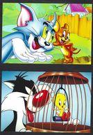 China, Cina, Chine; Tom And Jerry + Cat Sylvester And Tweety Bird, 2 Postal Stationery, Intero Postale, Prepaid Postcard - Hauskatzen