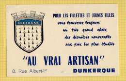 BUVARD  : Pour L'Habillement  Pour Fillettes Et Jeunes Filles Au Vrai Artisan  Dunkerque Ecusson Bretagne - Vestiario & Tessile