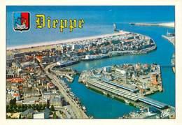 76 - Dieppe - Vue Aérienne Du Port Et Du Chenal - Blasons - Carte Neuve - CPM - Voir Scans Recto-Verso - Dieppe