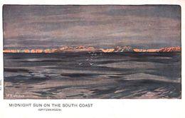 Midnight Sun Sunset At Spitzbergen Norway Old Postcard - Norvège