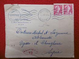 LETTRE NICE VIA SYRIE CACHET DJISR EL CHOGHOUR CENSURE DAMAS 1957 MARIANNE DE MULLER - 1921-1960: Moderne