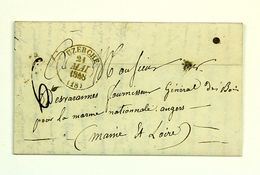 LAC 1848 Uzerche (Correze) Pour Angers En Port Du, Taxe 6 Decimes, Tad Type 13 - Marcofilia (sobres)