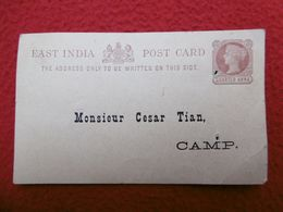 ENTIER POSTAL MESSAGERIES MARITIMES QUARTER ANNA PAQUEBOT YARRA 1893 A CESAR TIAN - Inde (...-1947)