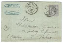 15c SAGE SUR LETTRE / ST MARCELLIN ISERE POUR VALENCE / 1878 / DISTILLERIE DUTRUC - Storia Postale