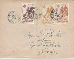 MAURITANIE TIDJIKJA 28 Jan 1946 CACHET BLEU Pour Saint Louis Sénégal - A.O.F. (1934-1959)