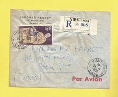 Lette Recommandée Du LAOS De Ventiane Pour Paris  Avion Du 24 04 58 Culte Du Bouddha  Représentant La Quête P. Aérienne - Laos