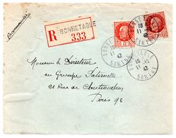 BONNETABLE - SARTHE  - Devant De Lettre - Lettre Recommandée - Cachet A4 Du 11 Dec. 1942 TTB - 1921-1960: Période Moderne