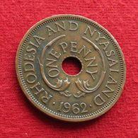 Rhodesia & Nyasaland 1 One Penny 1962 KM# 2 Rodesia Rhodesie - Rhodesia