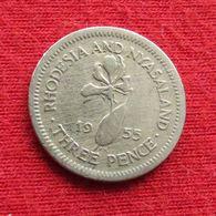 Rhodesia & Nyasaland 3 Three Pence 1955 KM# 3 Rodesia Rhodesie - Rhodesia