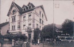 Wettingen, Gruss Aus Dem Rosengarten, Automobile Devant Le Restaurant (15.5.1912) - AG Aargau