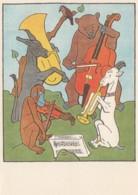 J. Lady (Josef Lada) Artist Image, Animals Play Music, Donkey Monkey Goat Bear, Violin Horns C1950s Vintage Postcard - Illustratori & Fotografie