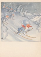 'IBM' Ida Bohatta-Morpurgo Artist Image, 'Winters Einzug' Winters Arrival' Gnomes Ski C1950s/60s Vintage Postcard - Illustrators & Photographers