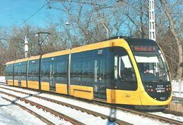 TRAM TRAMWAY RAIL RAILWAY RAILROAD CAF URBOS SPAIN SPANISH * FEHER STREET BUDAPEST WINTER SNOW * Top Card 6002 * Hungary - Tramways