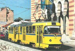 TRAM TRAMWAY * RAIL RAILWAY RAILROAD TATRA * SARAJEVO BOSNIA AND HERZEGOVINA NATIONAL LIBRARY * Top Card 6009 * Hungary - Tramways