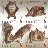 UKRAINE 2016 MiNr. 1593a - 1596a ANIMALS BATS Bechstein's Bat WWF 4V MNH ** 10,00 € - Ungebraucht