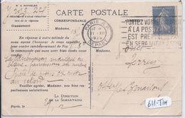 ROULETTE SEMEUSE 40 C OUTREMER- CPA 1929- LA SAMARITAINE- RARE - Marcophilie (Lettres)