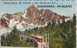 CPSM PETIT FORMAT  A SYSTEME ..derriere Le Train Tu Trouveras...CHAMONIX MONT BLANC  ...DEPLIANT ENTIER,NON ABIME - Cartoline Con Meccanismi