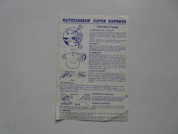 VIEUX PAPIERS - INSTRUCTIONS : AUTOCUISEUR SUPER EXPRESS 1961 - Alte Papiere