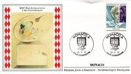 """"""" XXV ° PRIX INTERNATIONAL D'ART CONTEMPORAIN """" Sur Enveloppe 1er Jour De Monaco De 1991 N° YT 1776. Voir état FDC - FDC"""