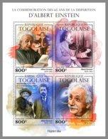 TOGO 2020 MNH Albert Einstein M/S - OFFICIAL ISSUE - DHQ2018 - Albert Einstein
