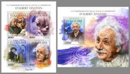 TOGO 2020 MNH Albert Einstein M/S+S/S - IMPERFORATED - DHQ2018 - Albert Einstein