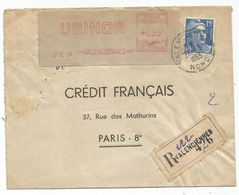 GANDON 15FR BLEU + ETIQUETTE EMA 35FR USINOR LETTRE REC VALENCIENNES 27.3.1953 - 1945-54 Maríanne De Gandon