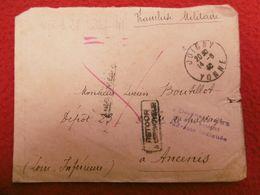 LETTRE JOIGNY VIA ANCENIS FRANCHISE MILITAIRE GRIFFES TEXTE LES BOCHES AUX PORTES DE PARIS 1940 - Marcophilie (Lettres)