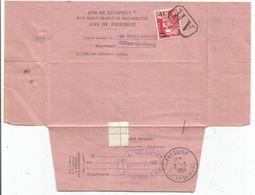 GANDON N° 968 SEUL OBL AR AVIS DE RECEPTION N°514 LA ROCHE COTES DU NORD 27.2.1954 AU TARIF - 1945-54 Marianne De Gandon