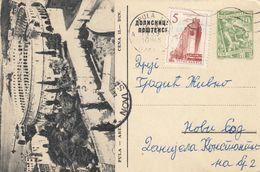 Yugoslavia 1955 Picture Postal Stationery Economy 10 Din, Pula - Arena, Croatia,  Used - Postwaardestukken